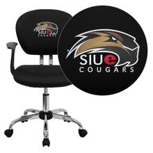 Southern Illinois University Edwardsville Cougars Embroidered Black Mesh Task Chair with Arms and Chrome Base