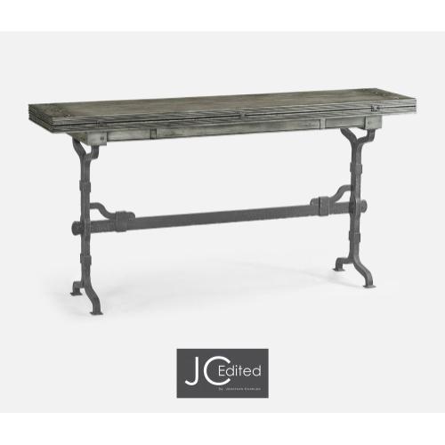"63"" Rectangular Antique Dark Grey & Iron Hunt Table"