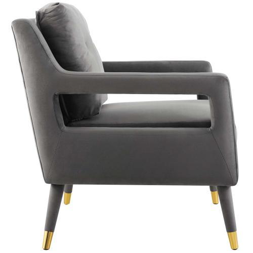 Premise Armchair Performance Velvet Set of 2 in Gray
