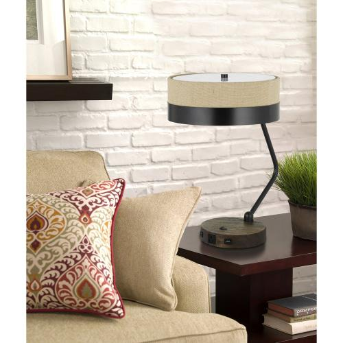 60W X 2 Parson Metal/Wood Desk Lamp With Metal/Fabric Shade With 2 USB Ports