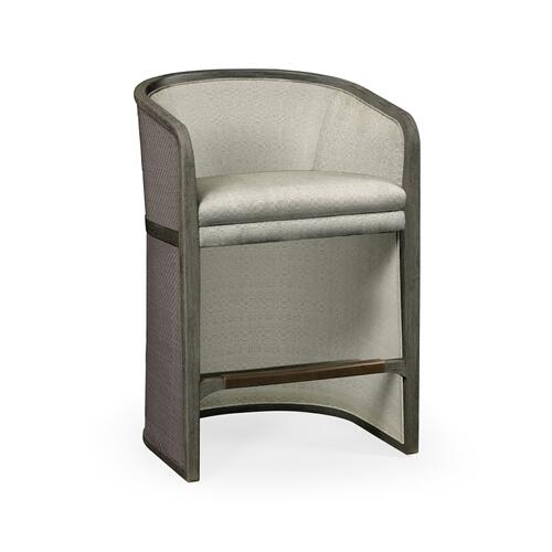 Grey & Dark Grey Rattan Tub Counter Stool, Upholstered in Standard Outdoor Fabric