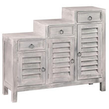 View Product - Shutter Cabinet, Three Tiered - Distressed Light Gray