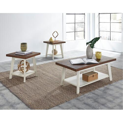 Amelia 3-Pack Accent Tables, Light Brown Top with Distressed White Base