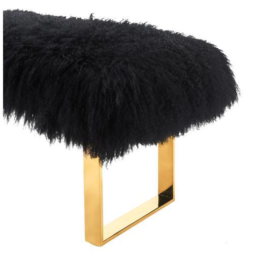 Tov Furniture - Sherpa Black Sheepskin Bench with Gold Legs