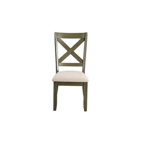 Standard Furniture Omaha X-Back Grey Side Chairs with Upholstered Seat