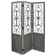 Distressed Gray  72in x 57in Traditonal Ornate Wood and Metal Floor Screen