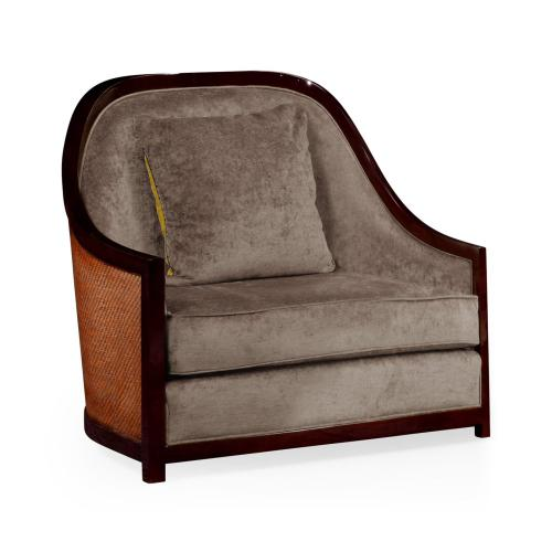 """44"""" Sonokelling & Brown Rattan Sofa Chair, Upholstered in Truffle Velvet"""