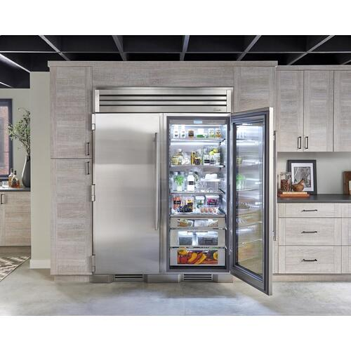 30 Inch Stainless Glass Door Left Hinge Refrigerator Column