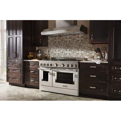 KitchenAid® 48'' Smart Commercial-Style Gas Range with Griddle - Matte Milkshake