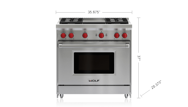 "Wolf36"" Gas Range - 4 Burners And Infrared Griddle"