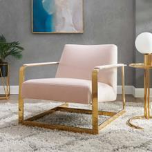 Seg Performance Velvet Accent Chair in Gold Pink