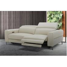 Divani Casa Meadow Modern Light Grey Leather Dual Electric Sofa Recliner with Electric Headrest