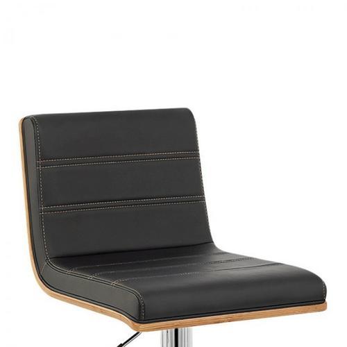 Armen Living Aubrey Barstool Chrome Base finish with Black Pu upholstery and Walnut back