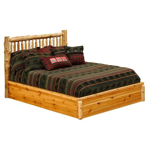 Small Spindle Platform Bed - Queen - Vintage Cedar