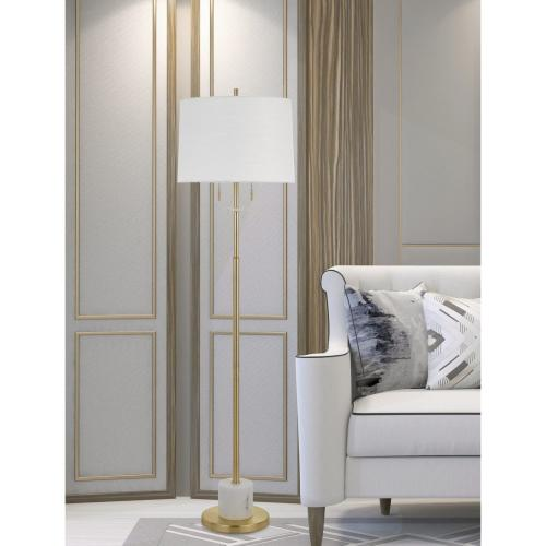 Cal Lighting & Accessories - Lille 60W X 2 Metal Floor Lamp With Marble Base And Pull Chain Switches