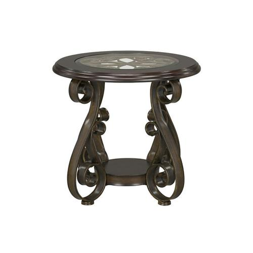 Bombay Round End Table with Glass Top, Brown