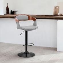 Benson Adjustable Grey Faux Leather and Walnut Wood Bar Stool with Black Base