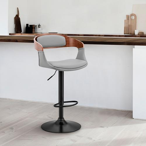 Armen Living - Benson Adjustable Grey Faux Leather and Walnut Wood Bar Stool with Black Base
