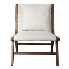 Wood Framed Lounge-Style Accent Chair in Linen Beige