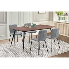 Messina and Gillian Charcoal Fabric and Walnut 5 Piece Dining Set