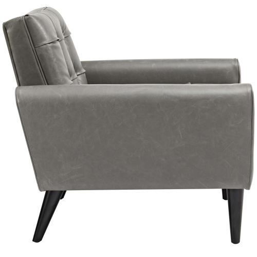 Modway - Delve 2 Piece Upholstered Vinyl Sofa and Armchair Set in Gray