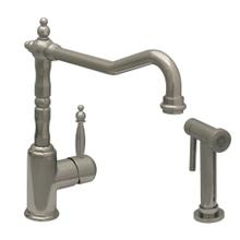 JEM Collection single-lever handle faucet with traditional swivel spout and solid brass side spray.