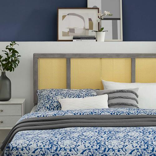 Delmare Cane Queen Headboard in Gray