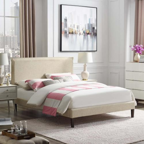 Modway - Amaris Queen Fabric Platform Bed with Squared Tapered Legs in Beige