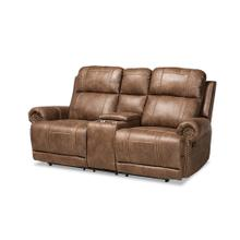 See Details - Baxton Studio Buckley Modern and Contemporary Light Brown Faux Leather Upholstered 2-Seater Reclining Loveseat with Console