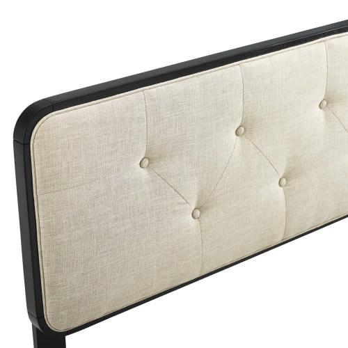 Collins Tufted Queen Fabric and Wood Headboard in Black Beige