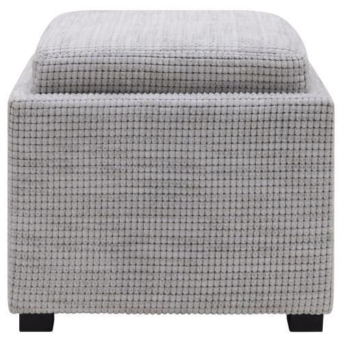 Cameron Square Fabric Storage Ottoman w/ tray, Squarespace Gray