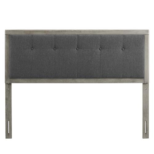 Draper Tufted Queen Fabric and Wood Headboard in Gray Charcoal