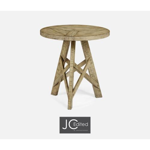 Rustic Circular Planked Light Driftwood Lamp Table