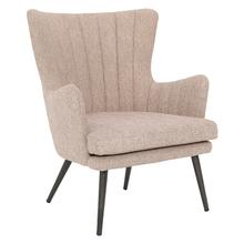 Jenson Accent Chair With Cappuccino Fabric and Grey Legs