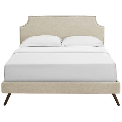 Corene King Fabric Platform Bed with Round Splayed Legs in Beige