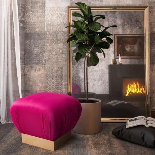 Tov Furniture - Lotus Hot Pink Ottoman