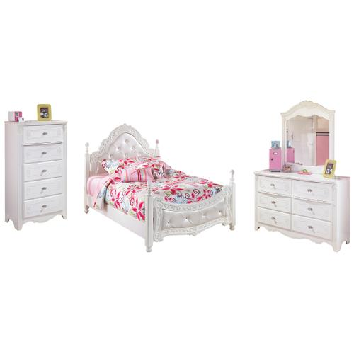 Full Poster Bed With Mirrored Dresser and Chest