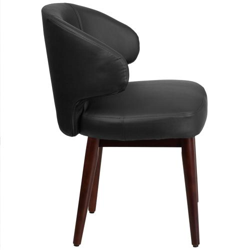 Gallery - Comfort Back Series Black LeatherSoft Side Reception Chair with Walnut Legs
