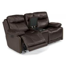 Product Image - Russell Leather Power Gliding Reclining Loveseat with Console and Power Headrests