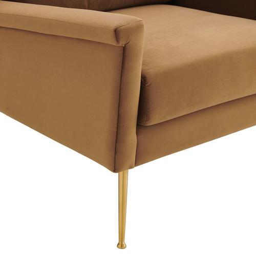 Modway - Chesapeake Performance Velvet Armchair in Gold Cognac