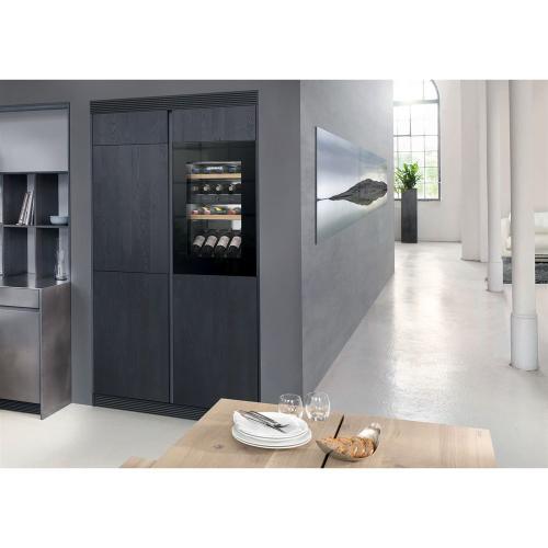 """24"""" Fully Integrated Black Glass Door Tip Open 33 Bottles 2 Zone Wine"""