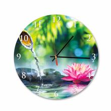 Bamboo and Lotus Flower Round Square Acrylic Wall Clock