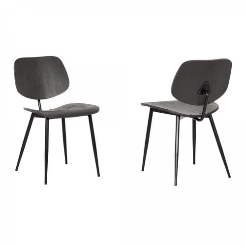 Miki Mid-Century Black Wood Dining Accent Chairs (Set of 2)