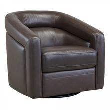 Desi Contemporary Swivel Accent Chair in Espresso Genuine Leather