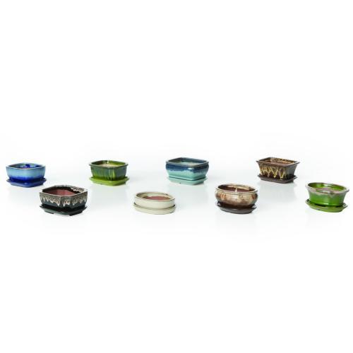 "6"" Bonsai Pot Assortment w/ attached saucer 8 mix, 3ea, 24 total/carton"