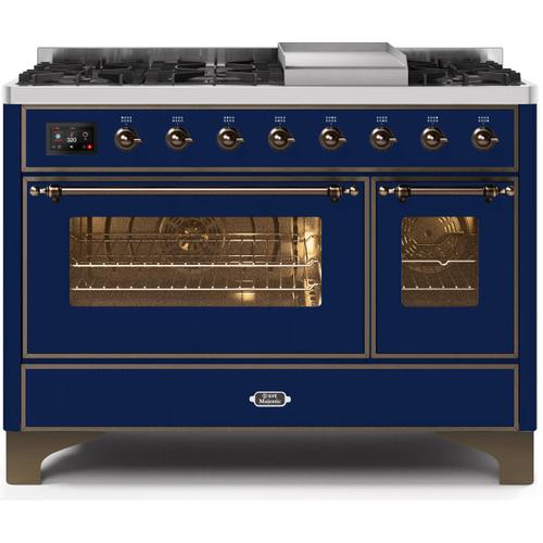 Majestic II 48 Inch Dual Fuel Natural Gas Freestanding Range in Blue with Bronze Trim