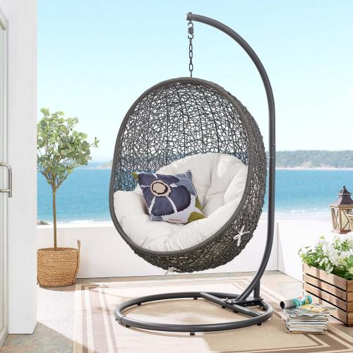 Hide Outdoor Patio Sunbrella® Swing Chair With Stand in Gray White
