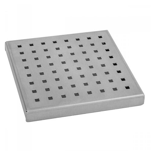 """Brushed Stainless - 6"""" x 6"""" Square Dotted Channel Drain Grate"""