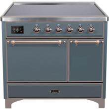 Majestic II 40 Inch Electric Freestanding Range in Blue Grey with Bronze Trim