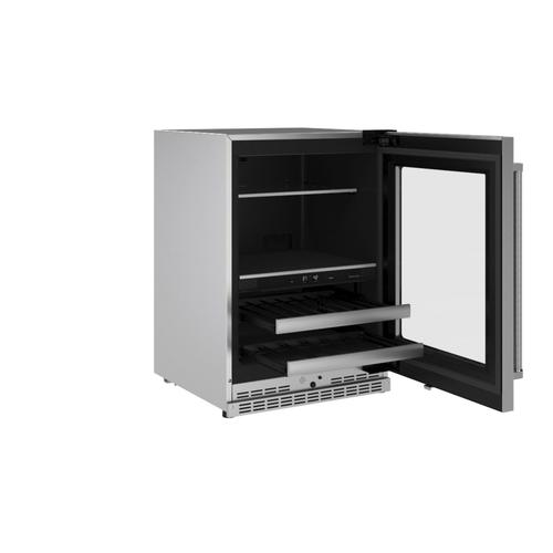 """KitchenAid Canada - 24"""" Beverage Center with Glass Door and Metal-Front Racks - Stainless Steel"""